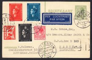 NETHERLANDS :23 September 1938 4c Letter Card Airmail Rotterdam to Perth Western
