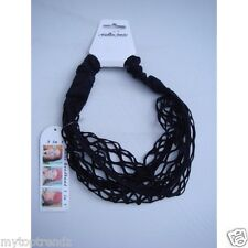 Wide Black LACE NET Elasticated Headband Hairband Bandeau Boho Head Wrap