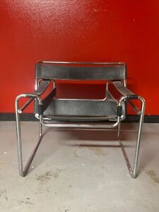Marcel Breuer Wassily Chair Black Leather Vintage