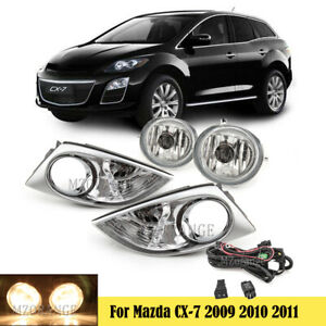 Fog Light Lamp Chrome Cover Bezel Wiring Switch Kit For Mazda CX7 CX-7 2009-2011