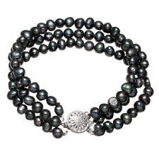 Pulsera de Perlas auténticas negras en tres capas, regalo para mujer