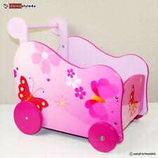 Puppenwagen Holz Laufwagen Lauflernwagen Holzpuppenwagen Schmetterling pink rosa