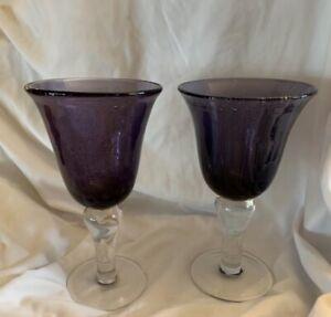 Artland Iris Wine/ Water Goblets. 2 Purple Hand Blown Seeded Bubble Glass Purple