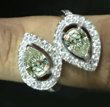 2.41ct vs1/ICE WHITE MOISSANITE PEAR CUT GORGEOURS WHITE .925 SILVER RING-VIDEO