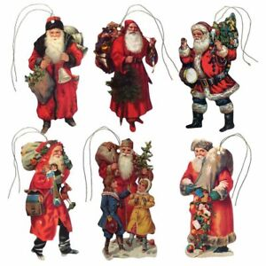 150 Vintage Father Christmas Die-cut Gift Tags with Gold Metallic Cord (EG)