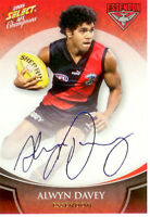 2008 Select AFL Champions Blue Foil Printed Signature FS25 Alwyn Davey(Essendon)