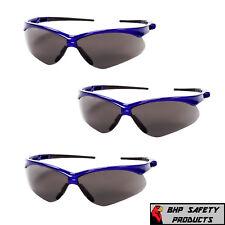 (3 PAIR) KLEENGUARD NEMESIS SAFETY GLASSES SMOKE ANTI-FOG LENS BLUE FRAME 47387