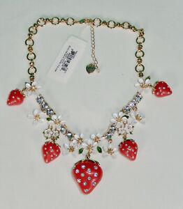 Authentic Betsey Johnson Strawberry Crystal Rhinestone Statement Necklace Nwt