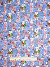 Christmas Fabric - Kitty Cat Wreath Blue Silver Glitter Fabric Traditions - Yard