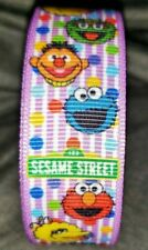 "7/8"" 2 YARDS Sesame Street Grosgrain Ribbon Bows Scrapbook Crafts Cookie Monster"