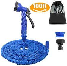 100FT Blue Garden Hose,Expanding Garden Water Hose Pipe with 7 Function SprayGun