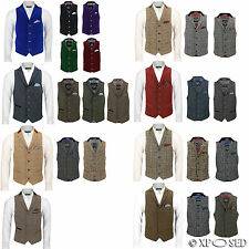 Mens Waistcoat Wool Mix Herringbone Tweed Check Velvet Collar Smart Formal Vest