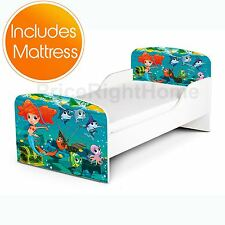 MERMAID TODDLER BED + FULLY SPRUNG MATTRESS GIRLS KIDS JUNIOR BEDROOM
