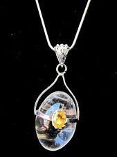 Citrine Shiva Lingham Necklace Snake Chain Mother Teacher Gift Solar Plexus