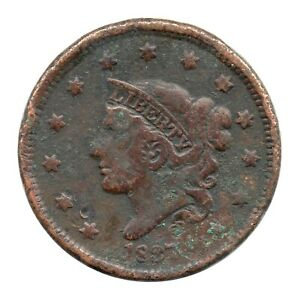 KM# 45.2 - One Cent - Coronet Head - USA - 1837 (Poor)