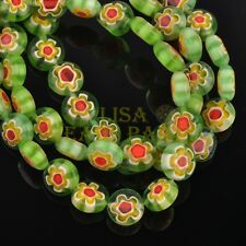 20pcs 8mm Rondelle Lampwork Millefiori Glass Flowers Charms Loose Beads Green
