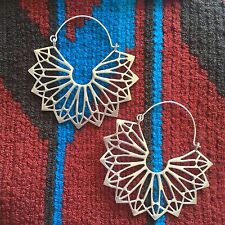 Tribal Fan Starburst Hook Boho Lightweight Earrings Silver Plated