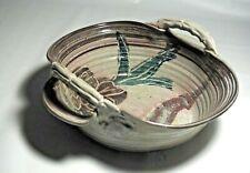 "Signed Cariaso Studio Hand Thrown Slab Pottery 11"" handled basket"