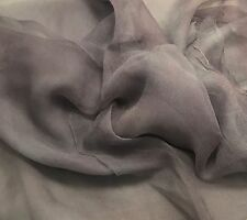 "3mm Silk GAUZE CHIFFON Fabric Hand Dyed PEARL GRAY 45"" by the yard"