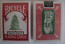 1 deck Bicycle 225 Red Deck Green Santa Maiden Back Playing Cards Christmas