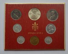 More details for 1966 vatican city pope paul vi mint set 8 coin set lire one silver toned