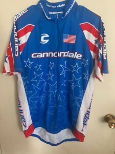 S/S Cannondale Red/White/Blue Cycling Jersey Shirt Bicycle - Size XL
