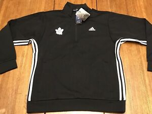 NWT's Men's Adidas NHL Toronto Maple🍁Leafs 1/2 Zip Jacket Pullover Black MEDIUM