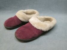 Clark's Women's Lavender Suede Leather Slippers Size 8 M Faux shearling lined