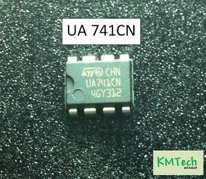 2 Pcs UA741CN Op Amps by ST Microelectronics with ST datasheet