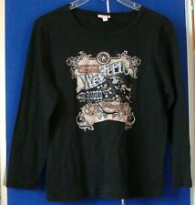 EUC Susan LAWRENCE Western Rodeo TOP Sz M Black w.Bling 100% Cotton MADE in USA