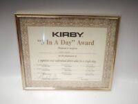 """Vintage Framed Kirby Vacuum Dealer 3 In a Day Award Sales 8 X 10"""" Wall Art"""