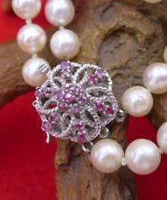 Zweireihige Perlen Halskette mit Rubinen in 750 Weißgold