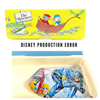 Vintage WALT DISNEY PRODUCTIONS THE RESCUERS SCHOOL PENCIL BOX MissPrint Error