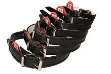 BLACK DOG PUPPY REAL LEATHER COLLARS small medium large