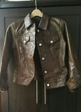 GAP brown leather vintage weathered jacket women's small