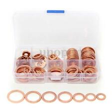 120Pcs 8 Size Solid Copper Washers Sump Plug Assorted Washer Set Plastic Box