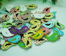 100pcs Colorful pattern Cute Bird Flatback Wood Sewing Buttons Fit Scrapbook