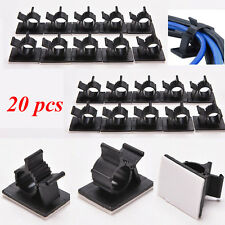 20x Cable Clips Adhesive Cord Management Black Wire Holder Organizer Clamp FS
