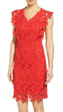 ELIE TAHARI 'Morgan' ~ Red Macrame Lace Overlay Shift Party Dress 0 NEW $448