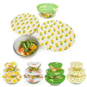 3Pcs Stretch Cotton Food Bowl Cover Safe Storage Wraps Dust Cover Reusable Lids
