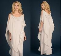 Plus size Sheath Mother Of The Bride Dress Champagne Chiffon Wedding Guest Gown