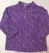 Hanna Andersson 80 Purple Leopard Animal Print 1/4 Zip Pullover Fleece Jacket