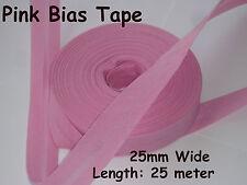 25mm/1 pulgadas sesgo de algodón rosado Vinculante Cinta doblado ribete Rollo 25 metros de recorte