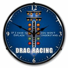 NEW DRAG RACING RETRO  ADVERTISING BACKLIT LIGHTED CLOCK - FREE SHIPPING*