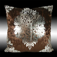 SHINY CHOCOLATE THICK VELVET SILVER DAMASK THROW PILLOW CASE CUSHION COVER 17""