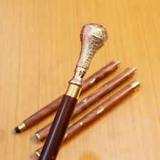 Brass Engraved Handle Vintage Wooden Walking Stick Cane