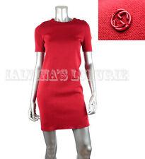 $1,300 GUCCI DRESS SHORT SLEEVE RED COTTON INTERLOCKING GG LOGO DETAIL S SMALL
