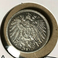 1914-A Germany 1 Mark Silver Coin XF/AU Condition