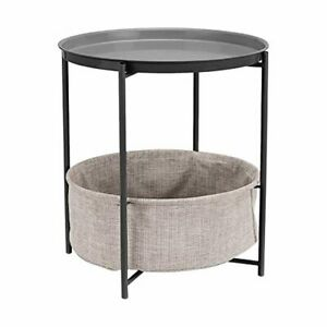 Amazon Basics Round Storage End Table - Charcoal with Heather Grey Fabric