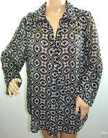 Millenium Women Plus Size 1x 2x 3x Black Ivory Chiffon Tunic Top Blouse Shirt